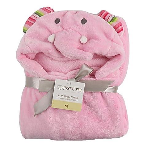 Tongchou 3D del Bebe Recien Nacido con Capucha Bano Manta Toalla de Bano Elefante rosa