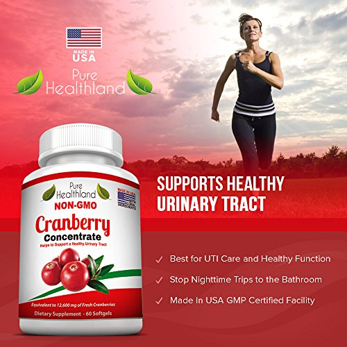 Non GMO Cranberry Concentrate Supplement Pills for Urinary Tract Infection UTI. Equals 12600mg Cranberries. Triple Strength Kidney Bladder Health for Men & Women. Easy to Swallow Softgels, 6 Bottles by Pure Healthland (Image #2)