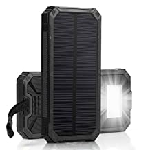 Dual USB Port 30000mAh Solar Charger High Capacity Solar Power Bank High-Speed Charging LED Lamp 5V External Battery Portable Charger For iPhone Android Samsung Tablet PC And USB Devices (Black)