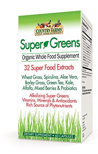 Country Farms Super Greens, 60 VegiCapsules Each (Pack of 9) by Country Farms