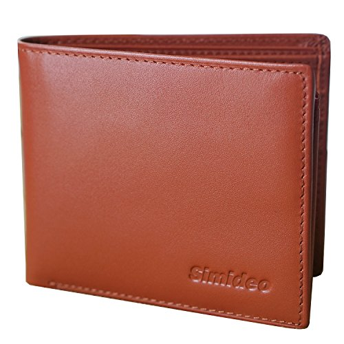 Simideo Men's Wallet TOP-GRAIN Genuine Leather Wallet Ultra-Slim Bifold Trifold Wallet with RFID Blocking - Brown ()