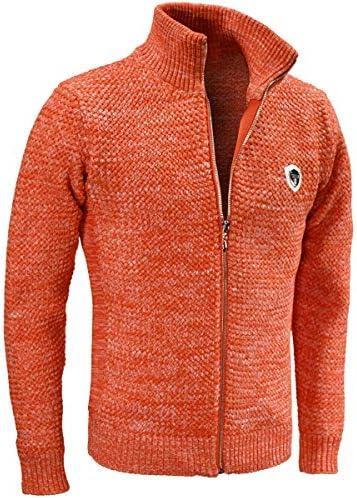 ヴィオラ ビオラ ニット フルジップアップ バスケット編み ニットジャケット 5ゲージ メンズ オレンジ橙 01136