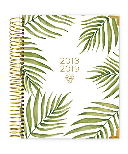 bloom daily planners 2018-2019 Academic Year Hard Cover Vision Planner - Monthly and Weekly Column View Day Planner - (August 2018 - July 2019) - 7.5'' x 9'' - Palm Leaves by bloom daily planners