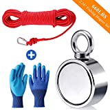 Fishing Magnet with Rope Glove Set, 660LB Pulling Force Super Strong Neodymium Magnet with 65 ft Nylon Rope & Carabiner for Magnet Fishing and Retrieving in River - 60mm Diameter