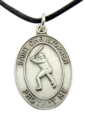 Saint Christopher Baseball Medal 1 Inch Pewter on a Cord & Clasp