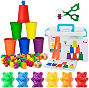 BMAG Counting Bears with Matching Sorting Cups,Pre-School Math Learning Games with 2 Dices,Color Recognition S