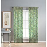 Window Elements Pinehurst Printed Sheer Extra Wide 54 x 84 in. Rod Pocket Curtain Panel, Lime For Sale