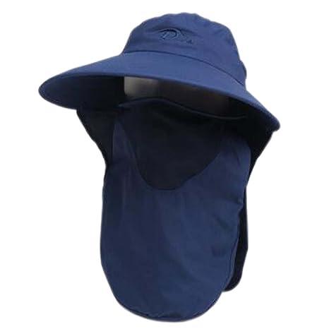 dbe0ee5e916 Amazon.com  PANDA SUPERSTORE Womens Wide Brim Sun Flap Cap Summer Hat Face  Mask Detachable Neck Cover UPF 50+  Sports   Outdoors