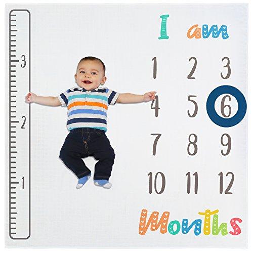 Baby Monthly Milestone Blanket for Newborn, Infant Boy & Girl   Photo Prop Blanket + 2 Frames & Growth Tracker Ruler   Baby Shower Gift Set   X Large Size (47x47)   Premium Bamboo Fabric   Unisex