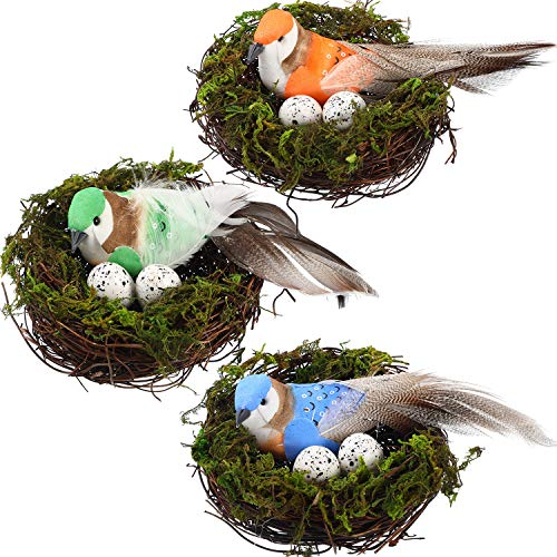 meekoo 3 Sets Easter Artificial Nest Natural Bird Nest Kit Includes Artificial Twig Nest, Fake Foam Feather Birds, Foam Eggs Ornaments for Crafts Home Party Decor (Green, Blue, Orange)