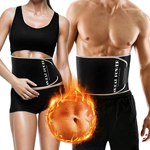 Gym Waist Trimmer for Women and Men,Sweat Wrap Belt,Belly Fat Slimming Waist Sweat Belt,Sauna Weight Trainer Suit for Lose Weight,Neoprene Ab Belt Low Back and Lumbar Support+Free Sample of Sweat Gel 7