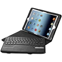 iPad Air / iPad Air 2 Keyboard + Leather Cover, Poweradd Bluetooth iPad Keyboard Cover w/ Removable Wireless Keyboard, Built-in Multi-angle Stand for Apple iPad Air 1/2, iPad 5/6 [iOS 10+ Support]