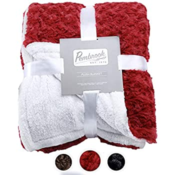 Pembrook Plush Throw Blanket - Dark Red - Super Soft and Warm Reversible Plush Faxu Fur and Sherpa Shearling Lining - Sizes 51 X 63 inches - Great for Couch, Bed, Sofa, loveseat