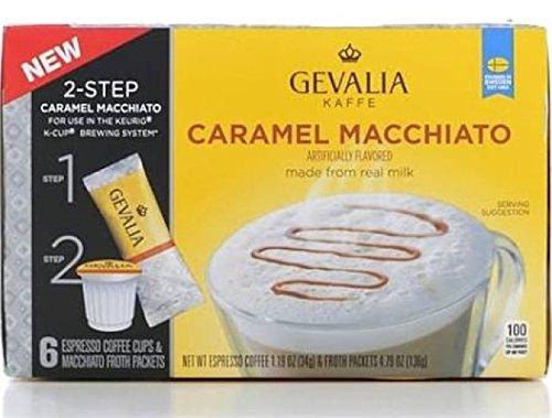 Gevalia Caramel Macchiato Keurig Espresso K-Cup Coffee PLUS Froth Packets - 6 Ct. (4.9 oz. Net Wt.) -  043000057797