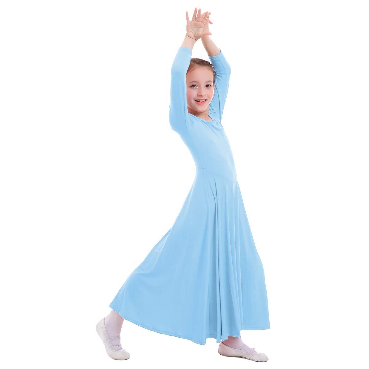 Kid Girls Liturgical Praise Lyrical Dance Loose Fit Long Sleeve Ruffled Dress Full Length Soft Plain Dancewear Worship Costume 3-14 Years