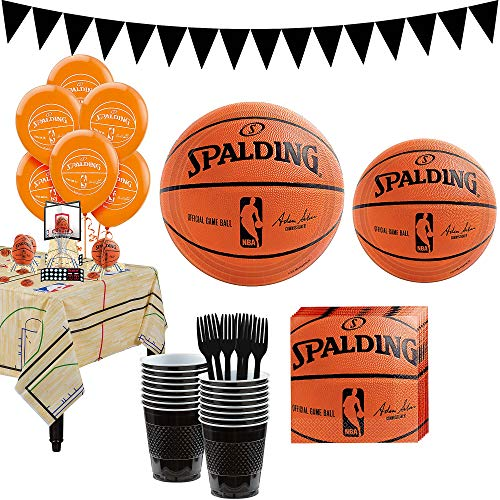 Party City Super Spalding Party Kit and Supplies for 18 Guests, Includes Table Cover, Decorations and Tableware -