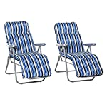 Outsunny 2 x Cushioned Garden Sun Lounger Chairs Blu and White