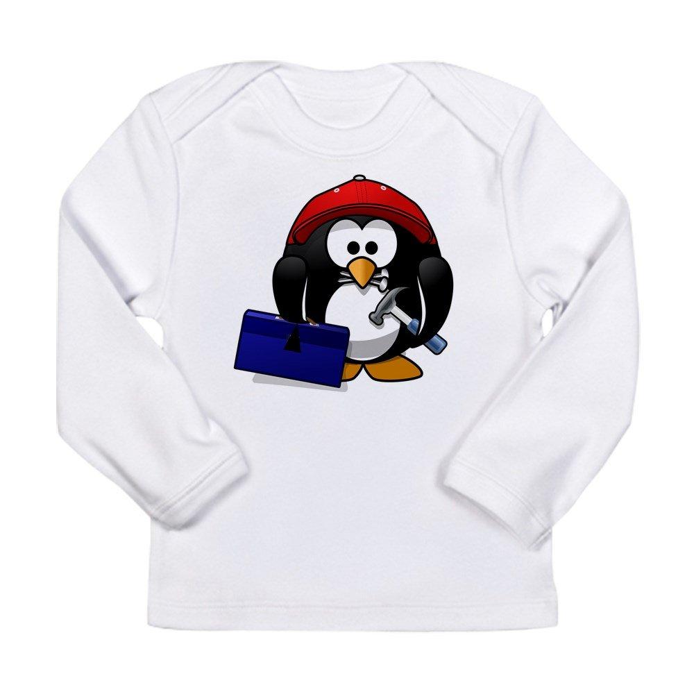 Cloud White Handy Man Construction Builder 12 To 18 Months Truly Teague Long Sleeve Infant T-Shirt Little Round Penguin