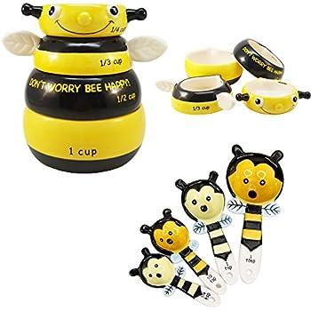 Amazon.com: Happy Bee Ceramic Measuring Cup and Spoon Set Kitchen ...