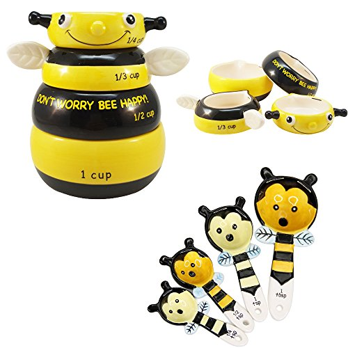 Happy Bee Ceramic Measuring Cup and Spoon Set Kitchen Decor