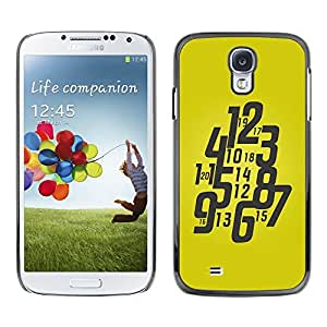 LECELL -- Funda protectora / Cubierta / Piel For Samsung Galaxy S4 I9500 -- Typography Funky Yellow Watch --