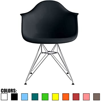 2xhome   Black   Plastic Armchair With Eiffel Legs Dinning Chair Eames  Style Molded Plastic Wire