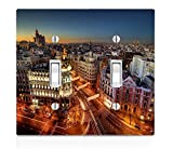 Popular Madrid at Night Print Double Light Switch Plate