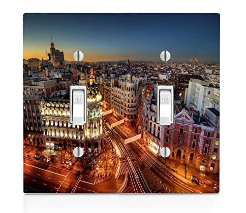 Popular Madrid at Night Print Double Light Switch Plate by LE Prints