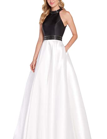 Nicefashion Womens Beaded Halter Sleeveless A Line Princess Evening Formal Dress White and Black US2