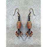 Black Brown Macrame Earrings In Tiki Bohemian and Hippie Style