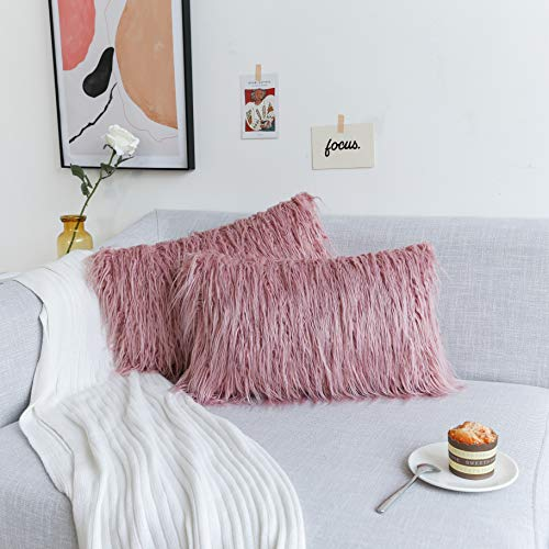 Kevin Textile Super Soft Solid Merino Style Fur Toss Throw Waist Pillow Cover Durable Pillowcase Oblong Christmas Cushion Cover, Set of 2, 12x20Inch, Millennial Pink