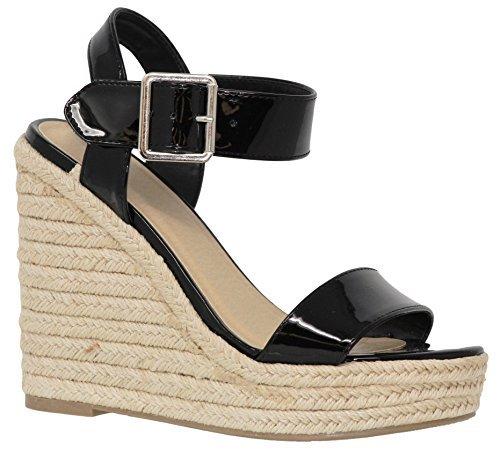 MVE Shoes Women's Peep Toe Ankle Strap Buckle - Summer Espadrille Wedges - Fashion High Platform, Black pat Size 10