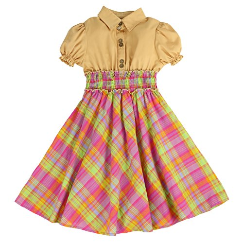 MARIA ELENA - Toddlers and Girls Anna Belle Plaid Light Cotton Dress in Taupe & Pink 6