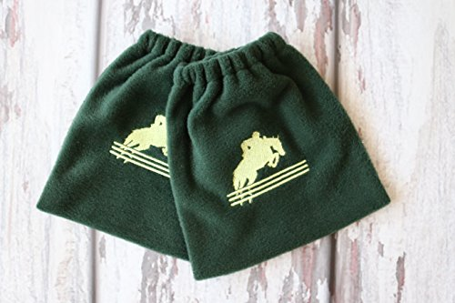Jumping Horse Embroidered - English Stirrup Covers, Stirrup Bag, Equine Iron Covers, Elastic Closing, Hunter Green, Embroidered Jumping Horse and Rider