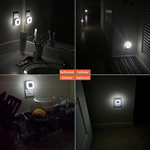 Sycees SC01 Plug-in LED Night Light Lamp with Light Sensor, Daylight White, 6-Pack