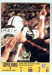 Joe Namath Football Card (New York Jets QB) 1999 Upper Deck #163 1969 Super Bowl Champion 1 Finger Celebration