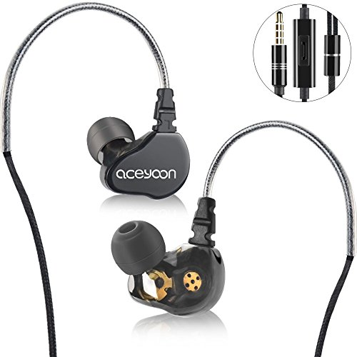 aceyoon In Ear Monitors for Musicians Super Extra Bass Dual Dynamic Hi-Fi Headphones with Mic Noise Cancelling Wired Stereo Earbuds for Apple iOS iPhone Android Computer PC Tablet