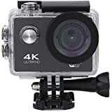 Acouto Sports Action Camera,2 Inch 4k 12MP 170°Angle with Remote Control,Waterproof Housing Case,Camera Frame,USB Cable,US Plug Adapter and more Accessories Kits