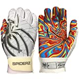 Spiderz Adult RAW Football Glove with Kandyland Palms (White/Silver/Smoke, XX-Large)