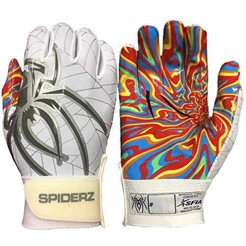 Spiderz RAW Adult Football Glove with Kandyland Palms (White/Silver/Smoke, Large) ()
