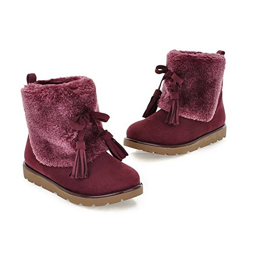 Solid Heels Boots Womens PU AmoonyFashion Purple Round with US 7 Frosted Closed B M Tassels Plush Short Toe Low fPnXqvY