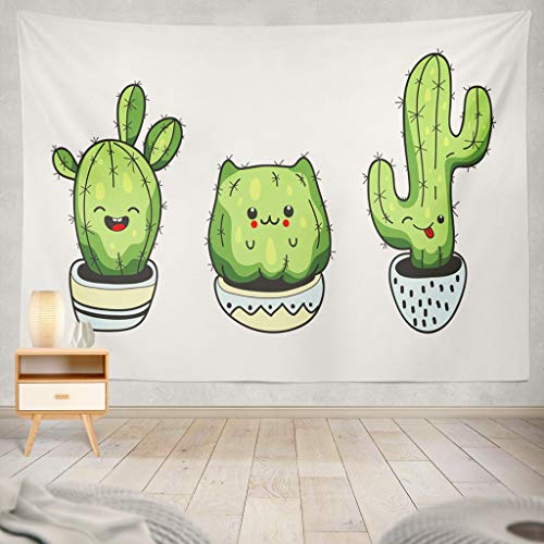 Flora Tapestry Wall Hanging - KJONG Cute Cartoon Cactus with Funny Kawaii Cactus Cartoon Cute Flower Funny Kawaii Happy Adorable Art Doodle Flora Decorative Tapestry,50X60 Inches Wall Hanging Tapestry for Bedroom Living Room