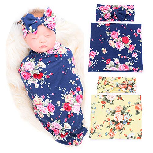 Galabloomer Newborn Receiving Blanket Headband Set Flower Print Baby Swaddle Receiving Blankets (Yellow Navy Blue Pack Two) (Best Baby Clothes Stores)