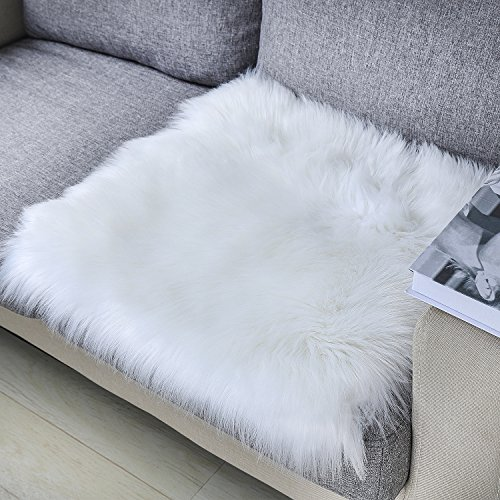 Lee D.Martin Super Soft Fluffy Shaggy Rug Home Decor Square Carpet Faux Sheepskin Silky Cushion for Bedroom Floor Sofa Chair,Chair Cover Seat Pad Couch Pad Area Rug,20''x20'',Ivory White