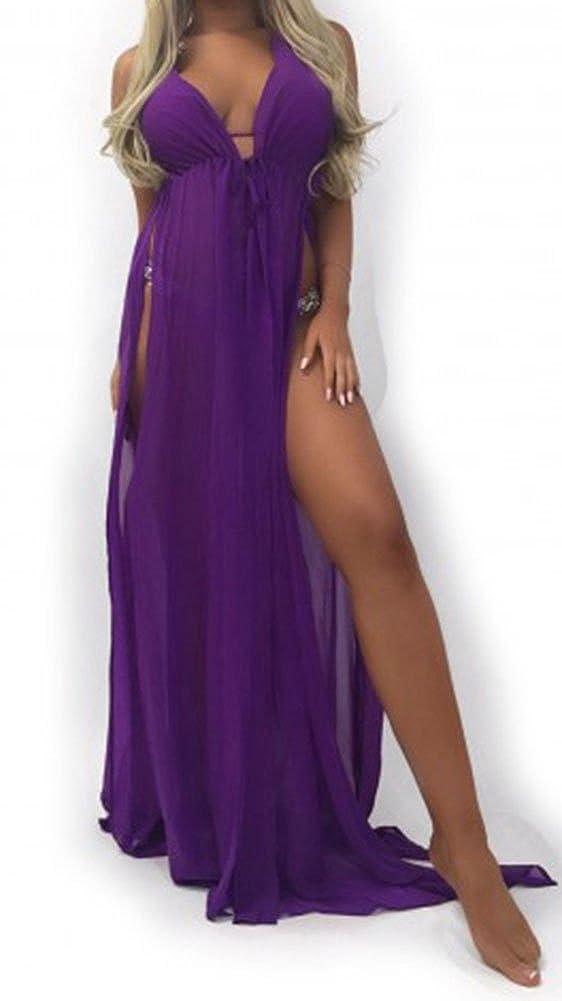 Women High Waist Split Cross Strap Chiffon Dress Sleeveless Long Bikini Cover Up: Amazon.co.uk: Clothing