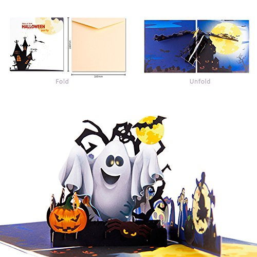 Dreamen Halloween Ghost pumpkin pop-up cards,craft 3D Greeting Card for kid greeting Card Lovers birthday Anniversary(3D Ghost -