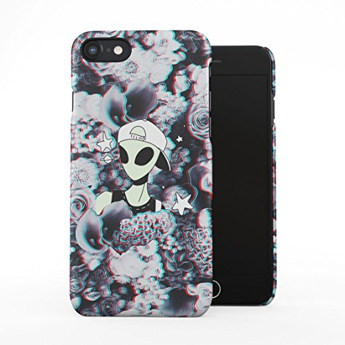 Swagy Alien Trippy Wildflowers Roses Pattern Tumblr Plastic Phone Snap On Back Case Cover Shell for iPhone 7 & iPhone 8 ()