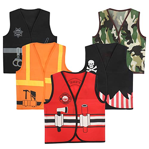 Toiijoy 5Pcs Boys Dress up Vest Set Police,Pirate,Fire Chief,Construction Worker,Soldier Costume Vest for Kids Ages 3-6 Years -