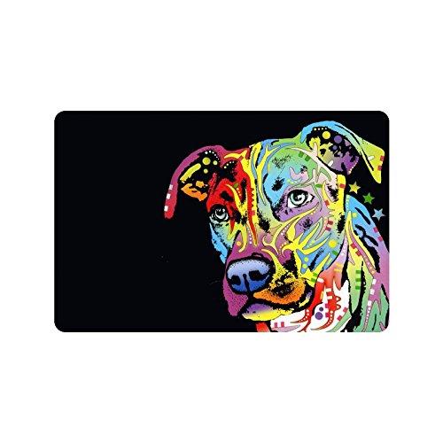 Oil Painting Pit Bull Dog Machine-washable Doormat Mat W 23.6 x 15.7 L