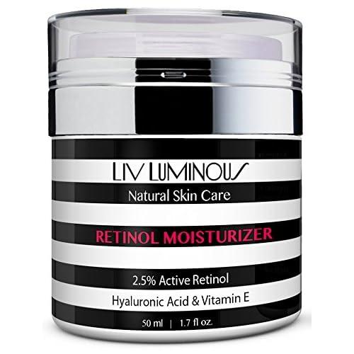 Liv Luminous Retinol Moisturizer for Face 2.5% - Daily Anti Aging Cream + Hyaluronic Acid, Vitamin E, Aloe, Jojoba Oil & Shea Butter (1.7oz)